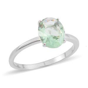Simulated Green Diamond Solitaire Silvertone Ring